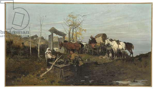 Conversation at the Well, 1877 (oil on canvas)