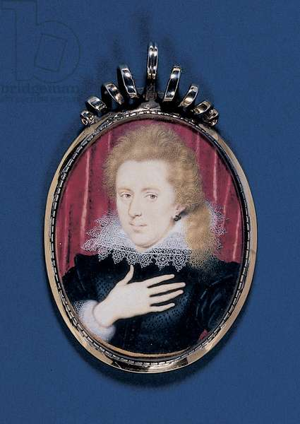 Portrait miniature of a young gentleman, c.1615 (w/c on vellum laid down on card with silver-gilt frame)