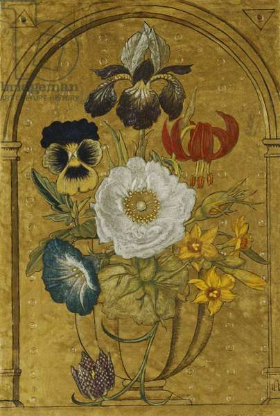 Vase of Flowers on a gold Ground,  (tempera on board)