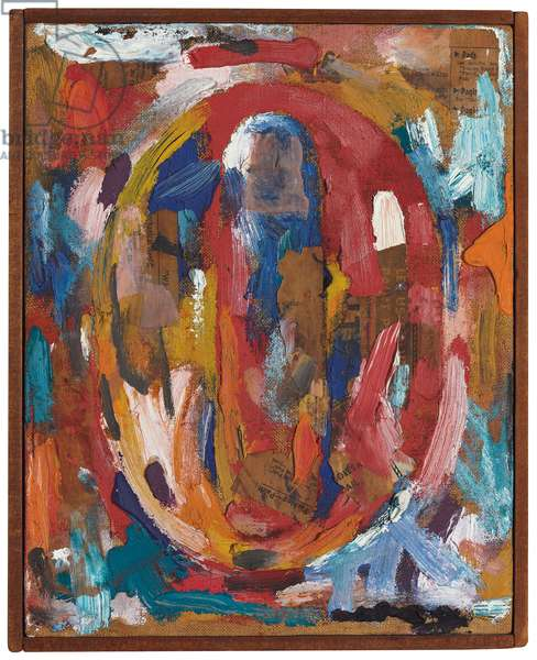 Figure 0, 1959 (oil, printed paper and fabric collage on canvas)