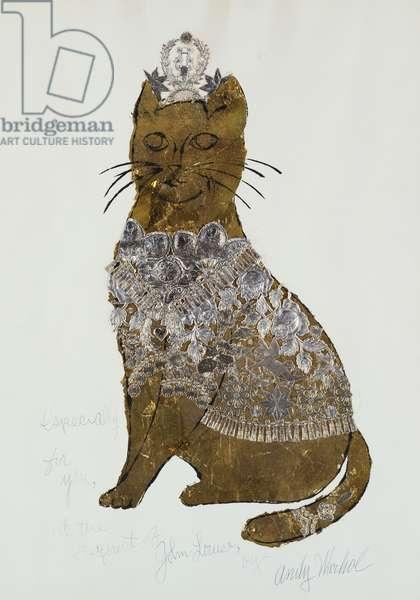Golden Cat, 1956 (gold leaf & gold trim over blotted black ink on paper)