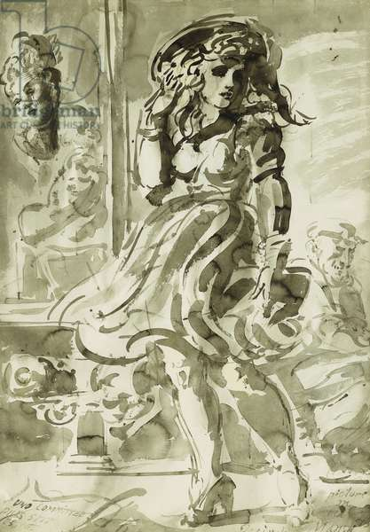 A Wind-Blown Skirt: A double-sided drawing, 1944 (80 x 57cm)