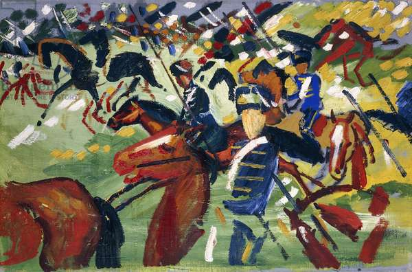 Hussars Setting Out, 1913 (oil on canvas)