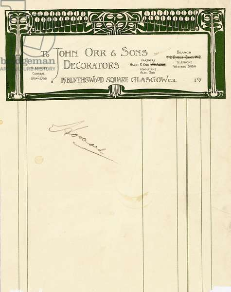 Stationery design for John Orr & Sons, Glasgow, c.1894-1898 (printed paper)