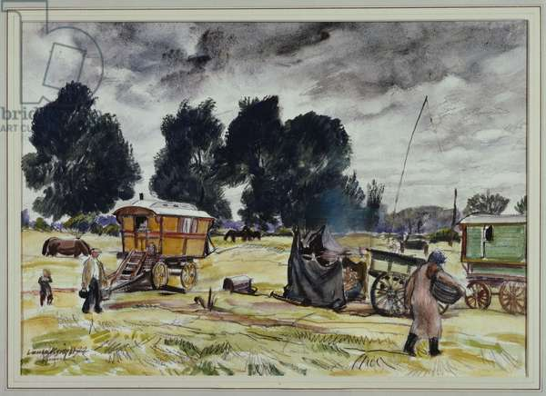 A Cloudy Day, Gypsy Encampment (w/c, bodycolour & pencil on paper)