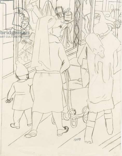 Street Scene, Berlin, 1929 (pencil on paper)