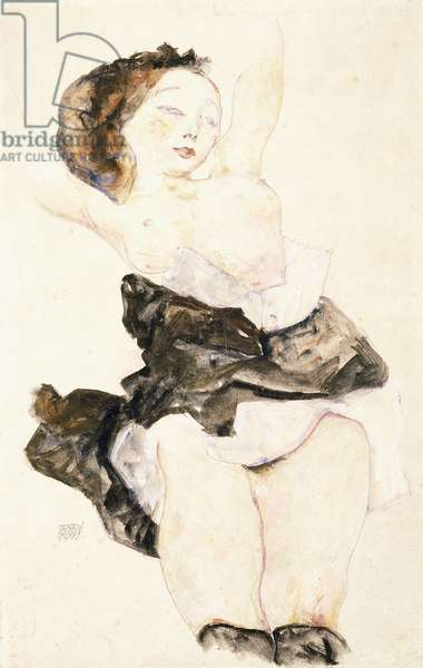 Lying Young Girl, Half Nude, 1912 (watercolour and gouache over pencil on paper)