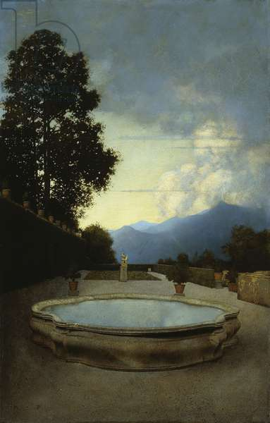 Villa Cicogna at Bisuschio: The Lower Terrace, 1904 (oil on paper stretched over wood)