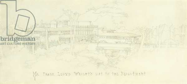An architectural elevation and view. Designed by the office of Frank Lloyd Wright for Sherman M. Booth, Glencoe, Illinois, c.1915 (pencil, coloured pencil, japanese paper)