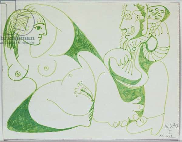 Musician with Nude Woman I, 1970 (green felt tip pen on board)