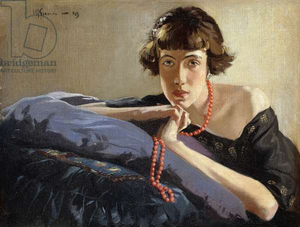 Portrait of a Girl with a Red Bead Necklace, 1919 (oil on canvas)
