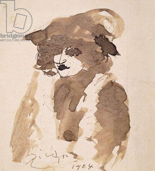 Portrait de Suzanne Bloch, 1904 (brush and brown ink on paper)