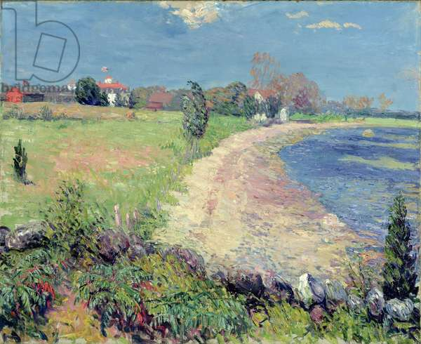 Curving Beach, New England (oil on canvas)