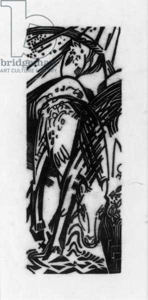 Horse Drinking (Lankheit 832), 1912 (woodcut)