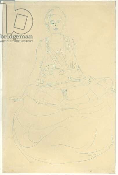 Seated Half-length Nude from the Front; Sitzender Halbakt von vorne, 1907 (blue pencil on simili Japan paper)
