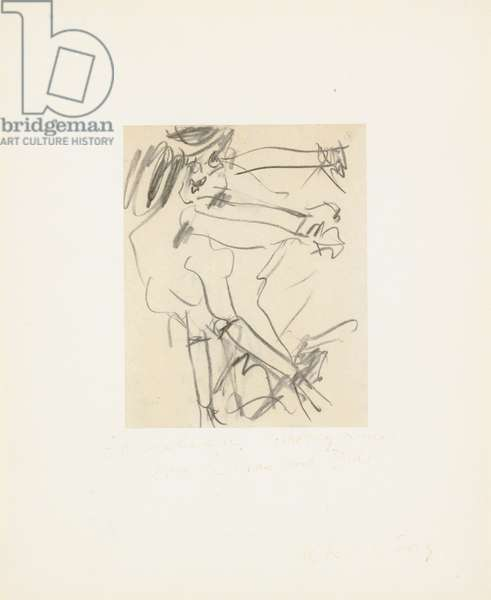 Figure study, 1965 (charcoal on paper laid down on board)