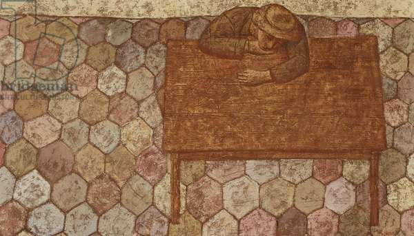 Boy Resting at a Table, 1960 (oil and composition on canvas)