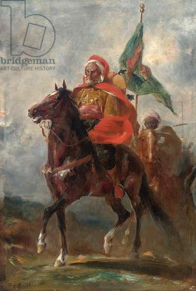 An Orientalist chieftain on horseback, 1863 (oil on panel)