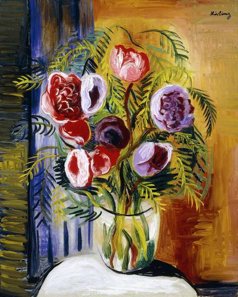 Flowers in a Vase,  (oil on canvas)