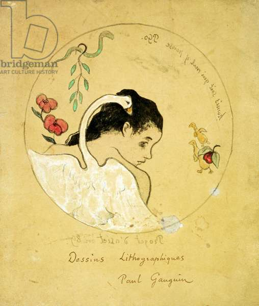 Design for a Plate - Leda and the Swan, 1889 (litho, w/c and gouache on paper)