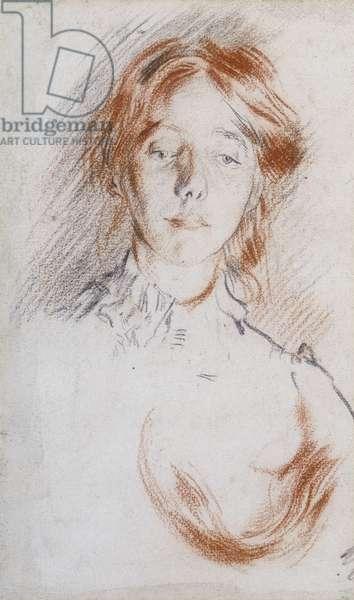 Study of Gwen John, c.1900 (red and black chalk)