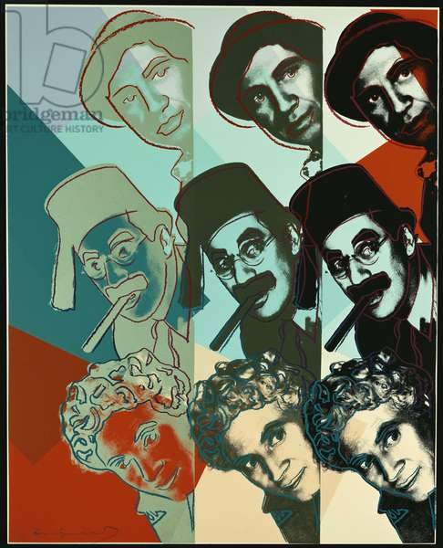 The Marx Brothers, from 'Ten Portraits of Jews of the Twentieth Century', 1980 (colour screenprint)