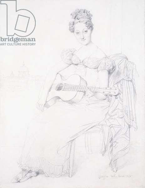 Portrait of Miss Elizabeth Keating playing her Guitar, 1816 (black lead on paper)