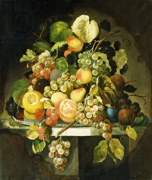 Still Life with Fruit, (oil on canvas)