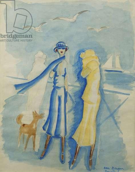 Les Elegants a Deauville, (watercolour and pencil on paper)