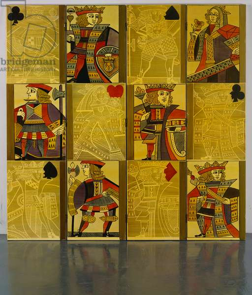 A four panel transfer printed screen depicting kings, queens and jacks, 1950s (transfer print)