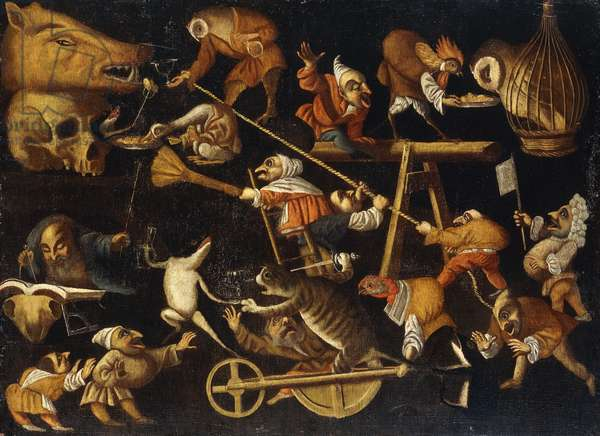 Imaginary Animals and Dwarfs Fighting, Drinking and Carousing (oil on canvas)
