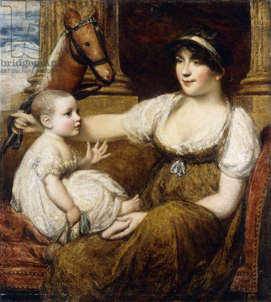 A Mother Holding a Hobbyhorse, Playing with her Child,  (oil on canvas)