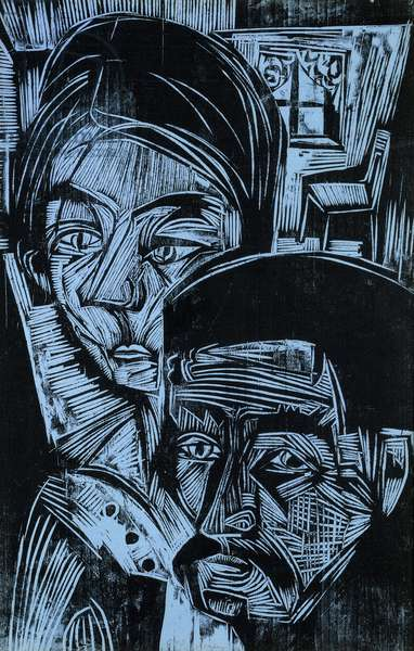 Peasant Couple in the Cottage, 1919 (woodcut on heavy blue wove paper)