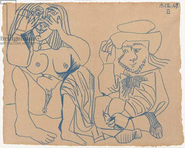 Nude and Seated Man; Nu et homme assis, 1969 (blue crayon on paper)