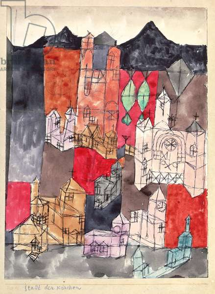City of Churches, 1918 (no 99) (pen, pencil & w/c on paper on cardboard)