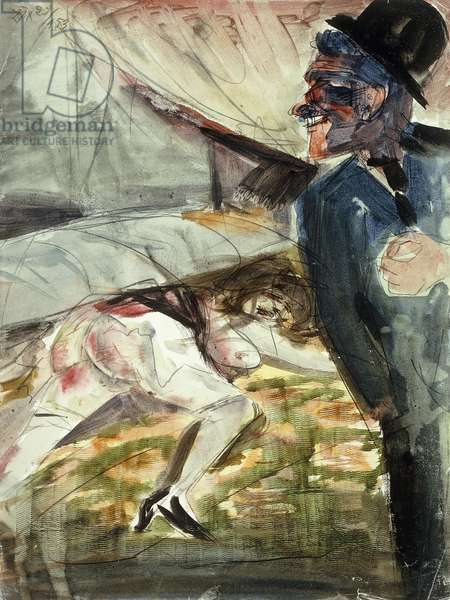 Murder; Mord, 1922 (watercolour and brush and black ink over pencil on paper)