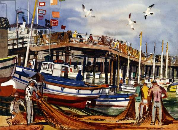 Fisherman's Wharf, San Francisco,  (watercolour on paper)