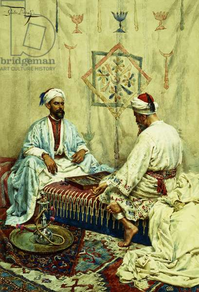 Arabs playing Backgammon in an Interior,  (watercolour)