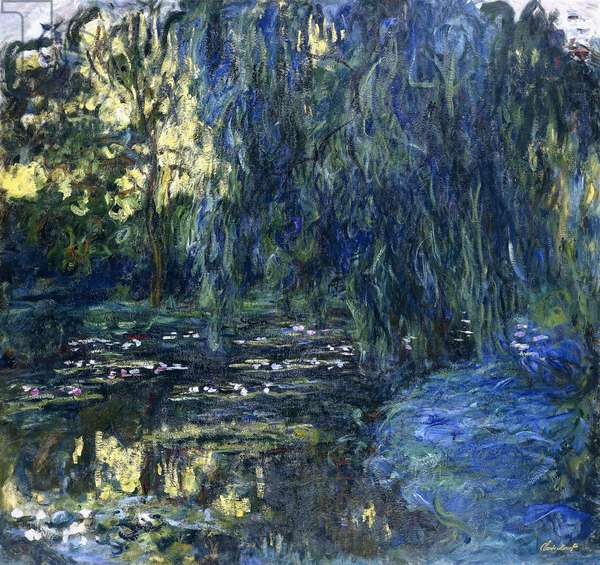 View of the Lilypond with Willow, c.1917-1919 (oil on canvas)