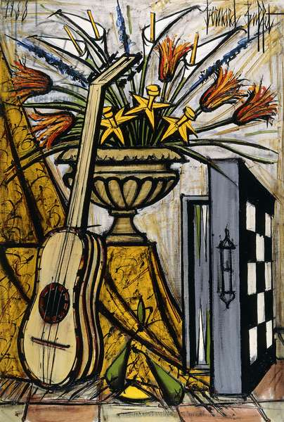 Guitar and Backgammon Board; Guitare at Jacquet, 1988 (oil on canvas)