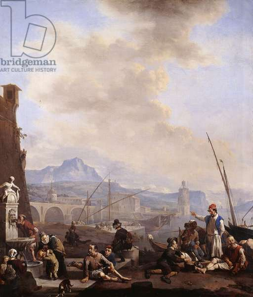 A Mediterranean Seaport with a Man drinking at a Fountain, Galley Slaves, Merchants and Dock Hands,  (oil on canvas)