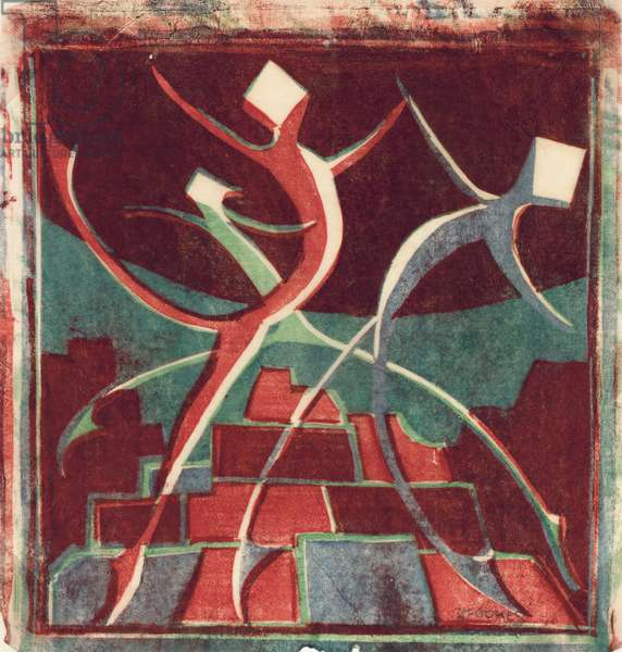 Dancers, c.1930 (linocut)