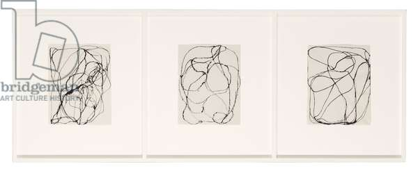 93 Summer Group (3, 6, 8), 1993 (ink on paper; in three parts)