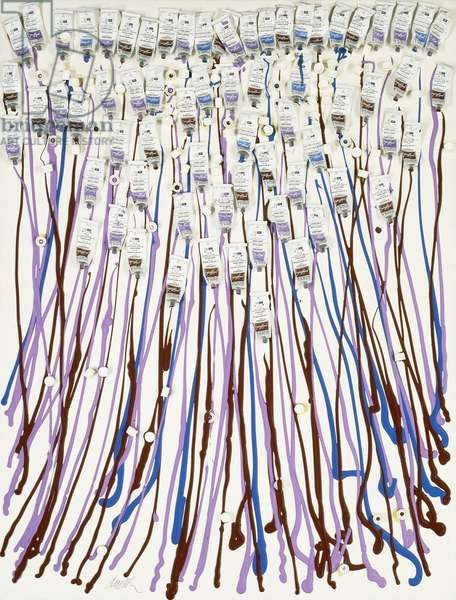 Manto, 1987 (accumulation of acrylic, paint tubes and caps on canvas mounted)