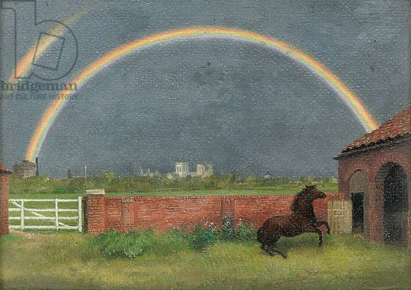 Rainbow and Pony, York, 1951 (oil on canvas-board)