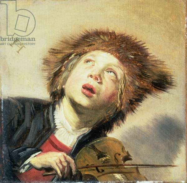 A Boy with a Viol (oil on panel) (pair of 133733)