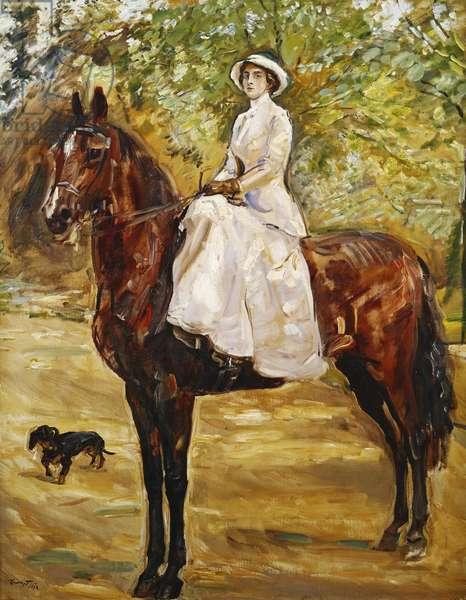 Woman in White Riding a horse; Dame im weissen Reitkleid zu Pferde, 1910 (oil on canvas)