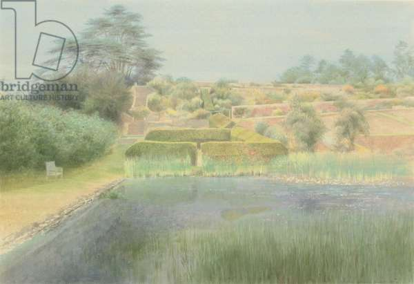 View of the lower pool and the terraced garden, Upton Park, Warwick, 1990 (pencil, w/c & bodycolour on paper)