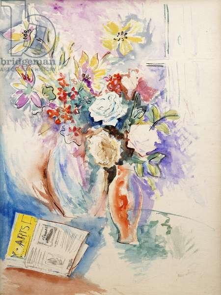 Flower Vases; Vases de Fleurs, (watercolour on paper)