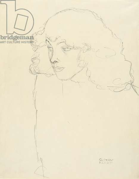 Half-length Portrait of a Girl in three-quarter profile, 1913 (pencil on paper)